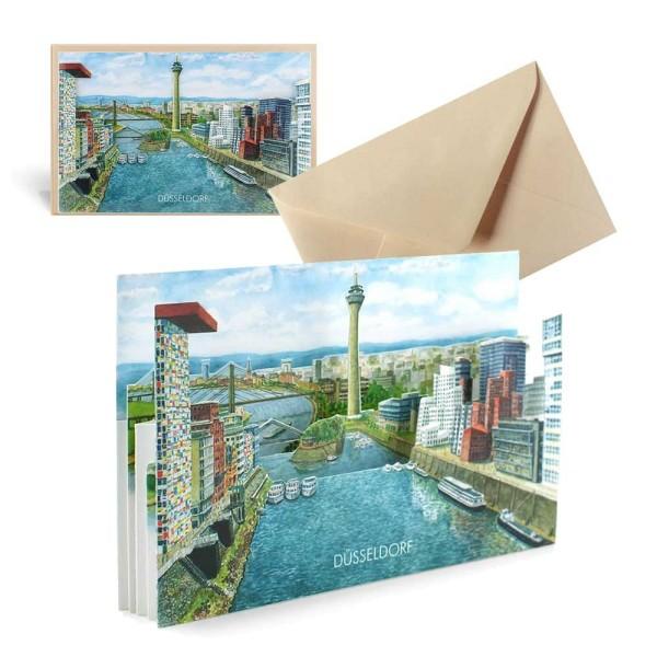 Ansichtskarte Düsseldorf - Pop-Up Grusskarte mit Couvert