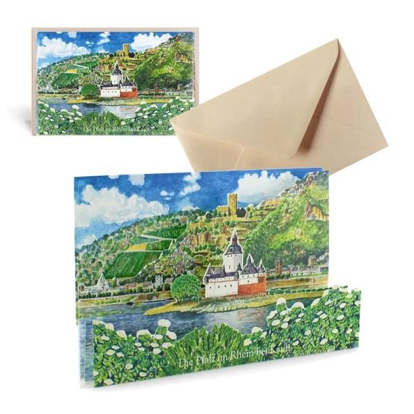 Ansichtskarte Kaub am Rhein - Pop-Up Grusskarte Set mit Briefumschlag