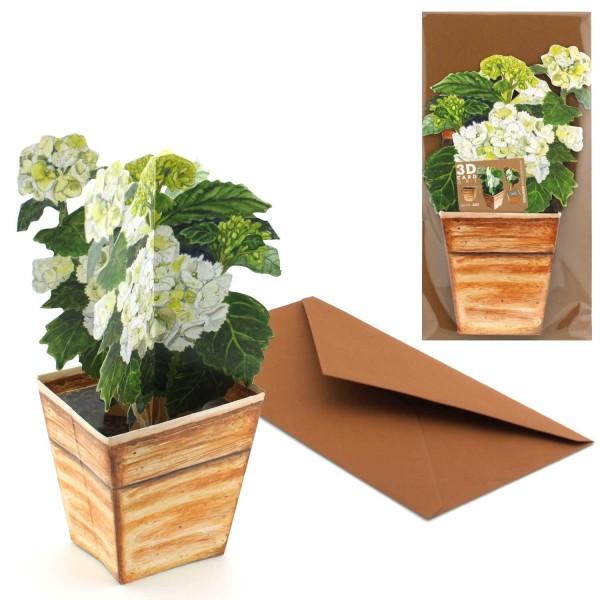 Grusskarte Hortensie - 3D Blumen-Motivkarte Set inklusive Couvert