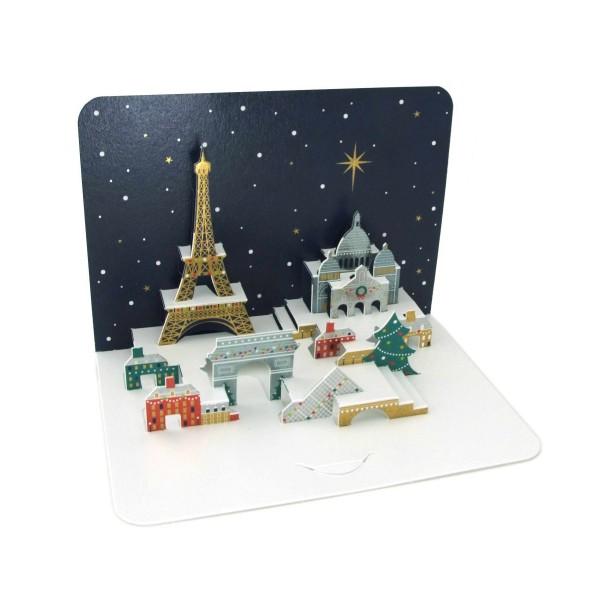 """Pop-up-Karte """"Weihnachtliches Paris"""", 3D-Weihnachtskarte"""