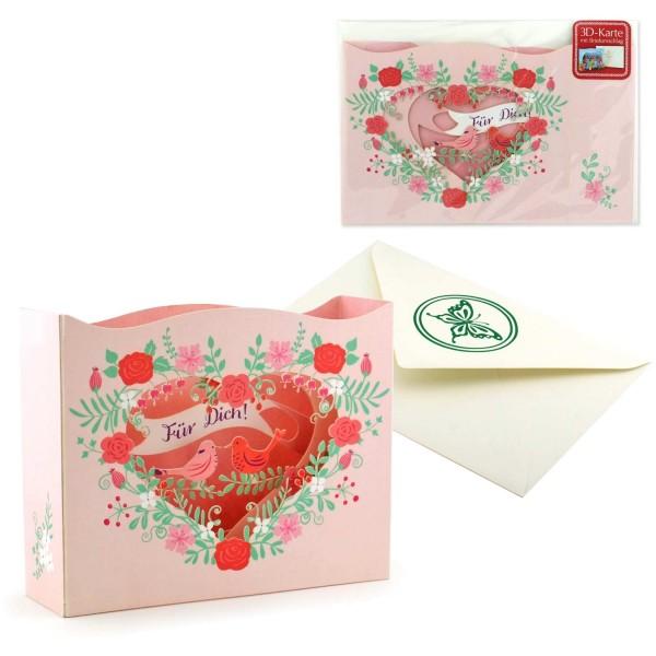 Pop up Karte Für Dich - Valentinskarte komplett Set mit Briefumschlag