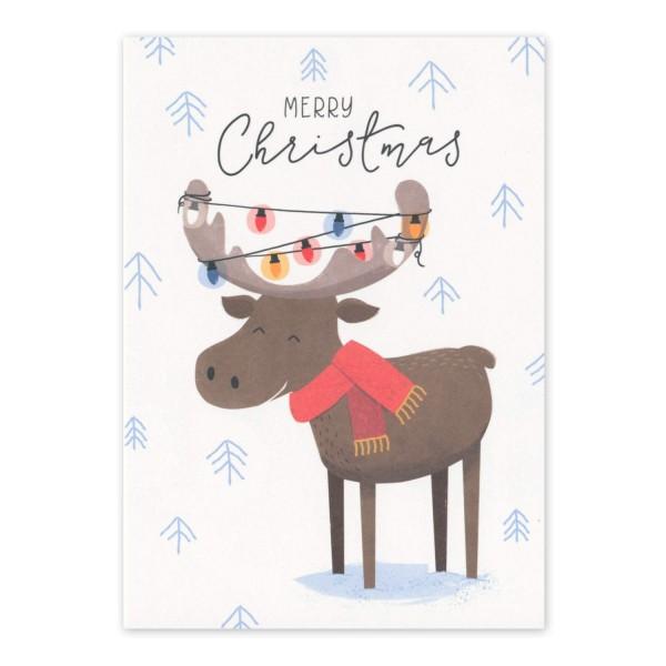Postkarte geschmücktes Rentier