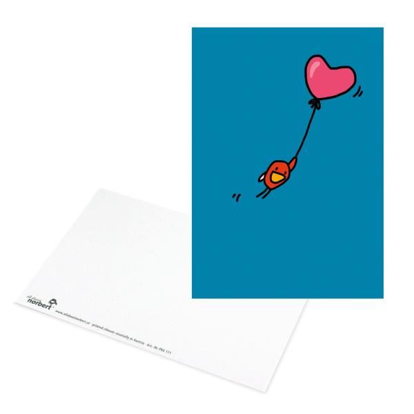 Postkarte Vogel am Herzballon - Grußkarte Valentinstag Ansicht Vorderseite & Rückseite
