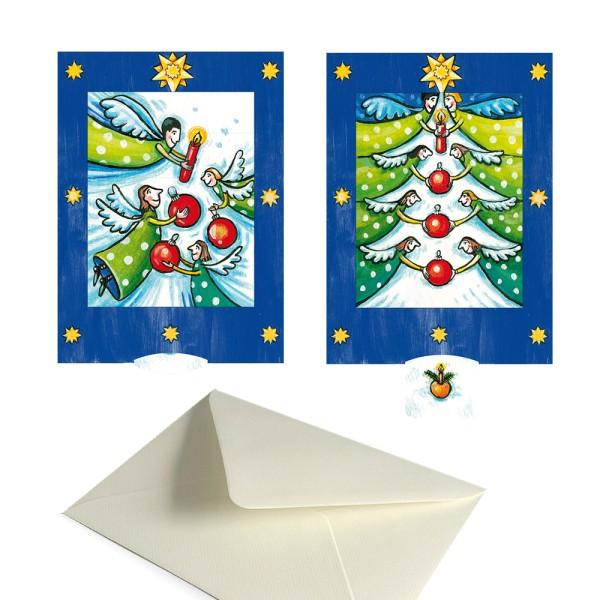 Grußkarte Weihnachten / Advent Engel - Lebende Karte Set mit Kuvert