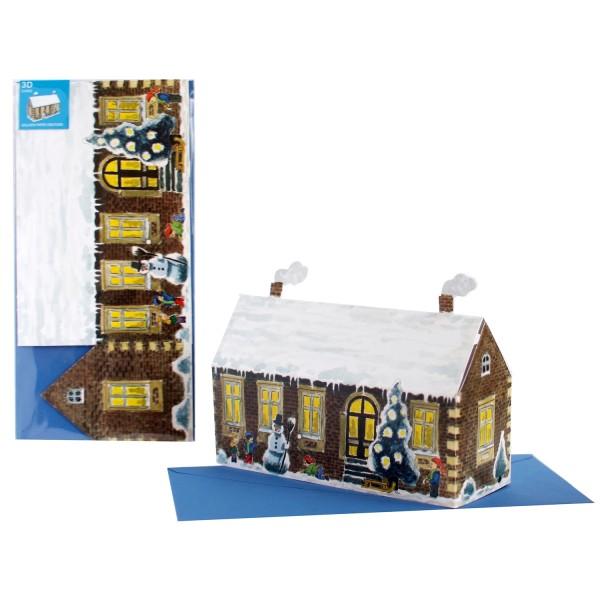 Adventskarte 3D Weihnachtshaus -  Weihnachten Set mit Briefumschlag