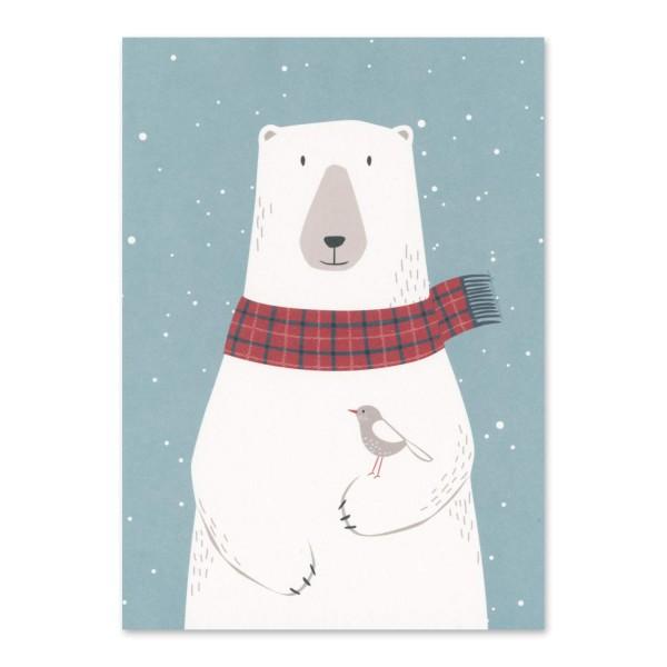 Postkarte Eisbär mit Vogel