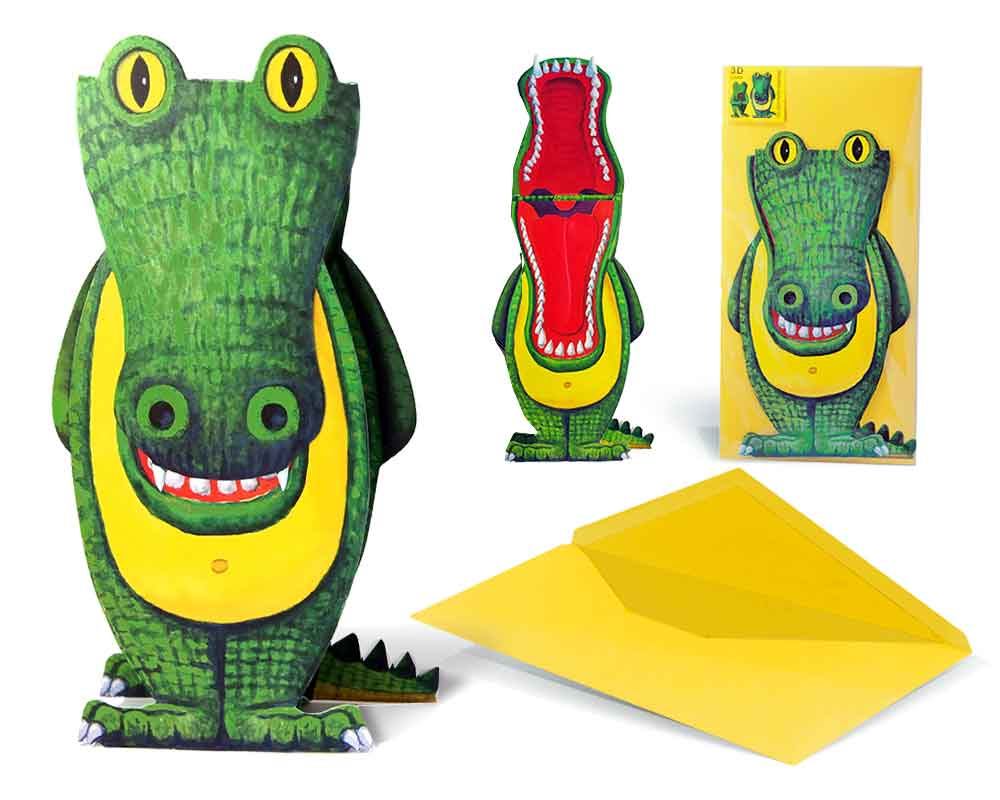 einladung 3d krokodil einladungskarte kindergeburtstag. Black Bedroom Furniture Sets. Home Design Ideas