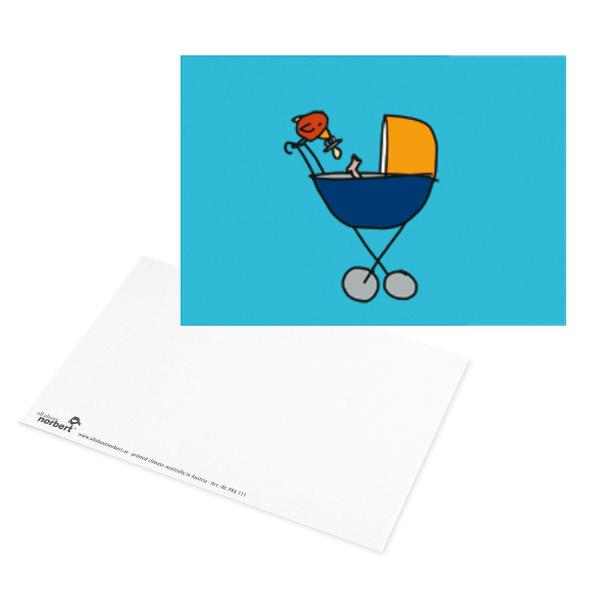Postkarte Baby Kinderwagen - Geburtskarte Ansicht Vorderseite & Rückseite
