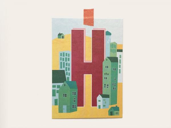 Buchstaben-Postkarte H