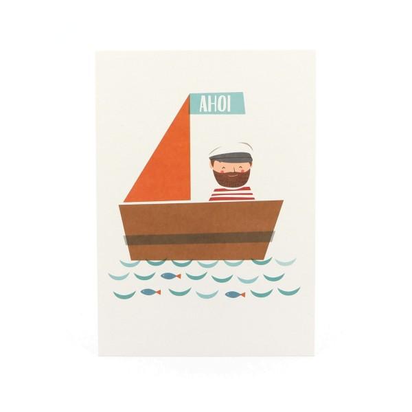 """Postkarte """"Ahoi"""" mit einem Kapitän im Segelboot"""