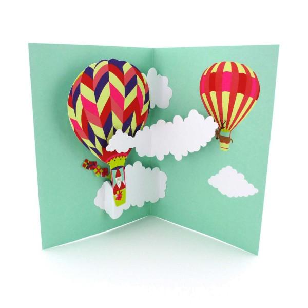 Pop-up-Karte Nikolaus im Fesselballon
