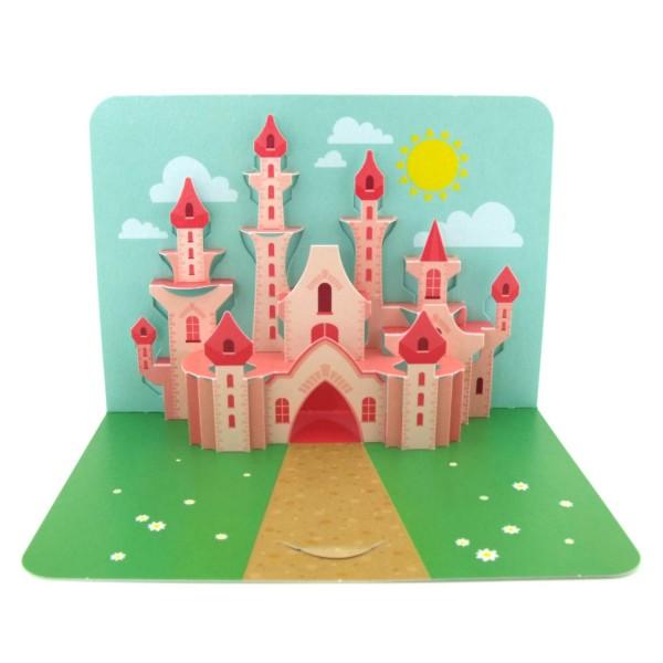 Pop-up-Karte mit einem Märchenschloss