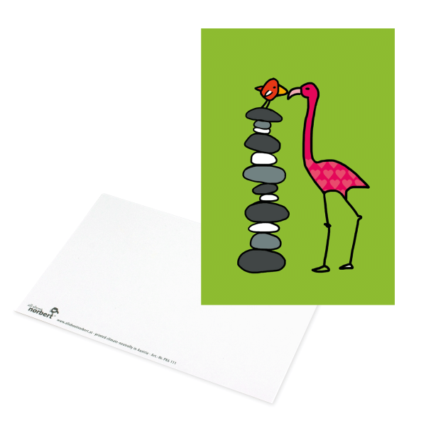 Postkarte Flamingo Kuss Vogel - Karte Ansicht Vorderseite & Rückseite