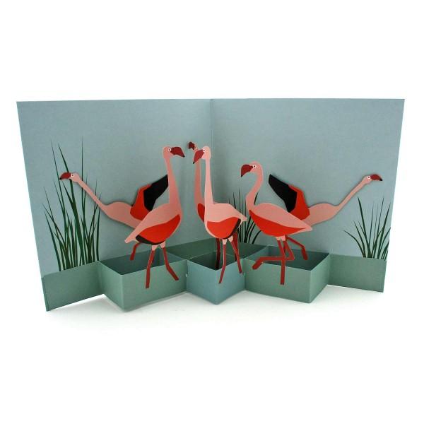 Pop-up-Karte mit rosa Flamingos