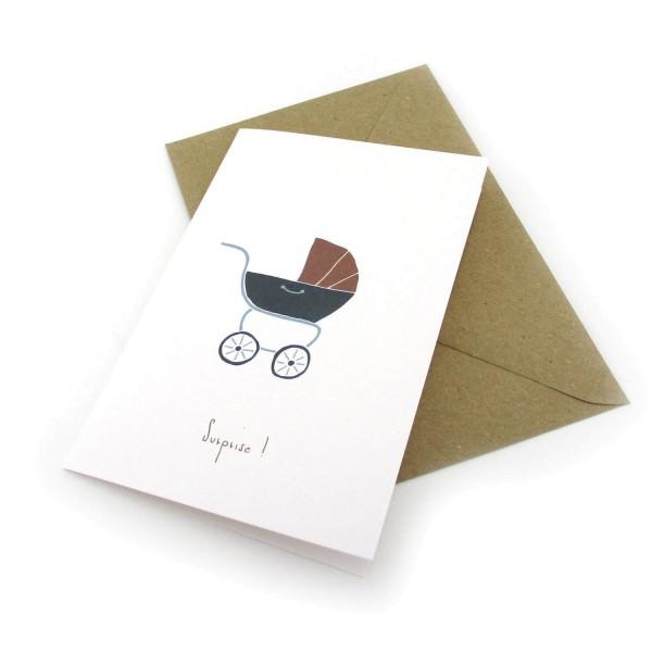 Geburtskarte Kinderwagen - Surprise! - Klappkarte mit Umschlag