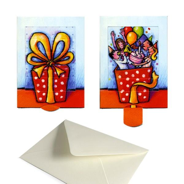 Glückwunschkarte Geschenk / Party - Bildwechselkarte Geburtstag Komplett-Set mit Versandhülle