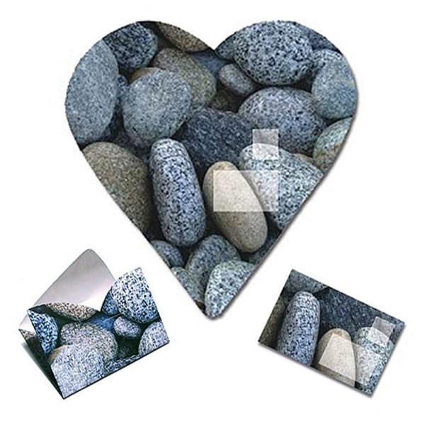 Faltbrief Herz aus Stein - Faltbriefbogen aus Papier komplett Set Ansicht Innenseite und gefaltet