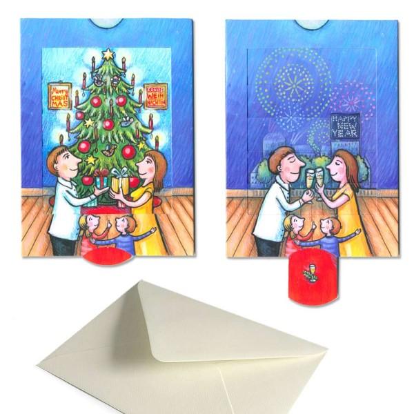 Schiebekarte Weihnachten / Neujahr