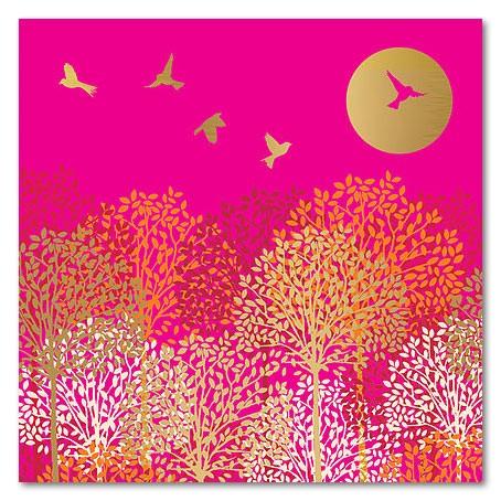 Klappkarte Vögel und Bäume
