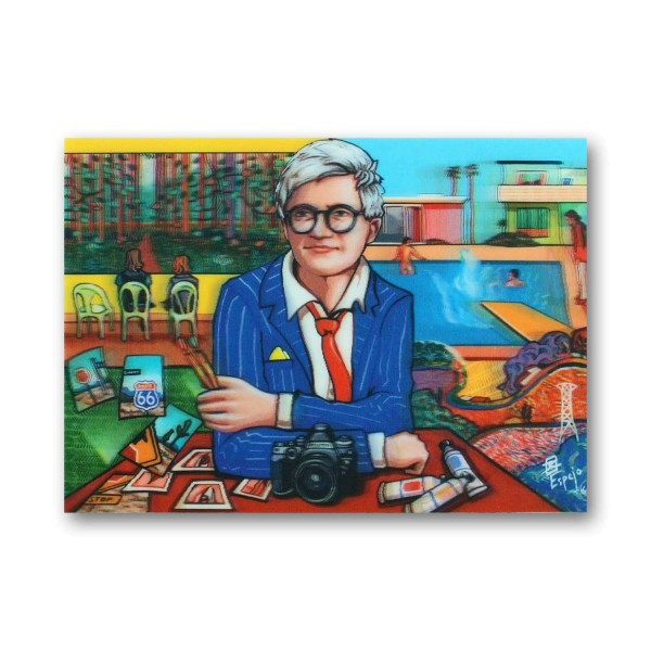 Postkarte/ 3D-Hologrammkarte David Hockney