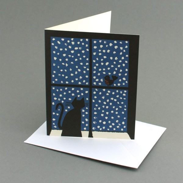 Weihnachtskarte Katze und Vogel