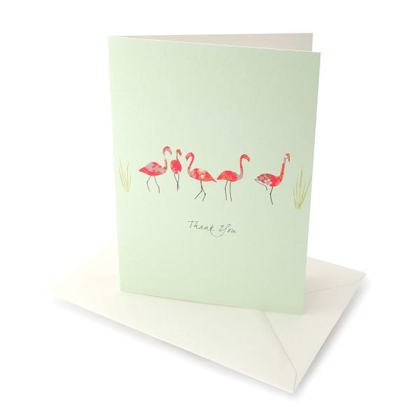Danksagungskarte Flamingos-Klappkarte