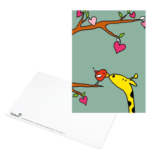 Postkarte Giraffe küsst Vogel auf Ast - Valentinstag Karte Ansicht Vorderseite & Rückseite
