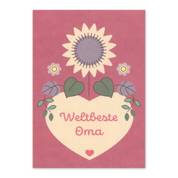 Postkarte Weltbeste Oma