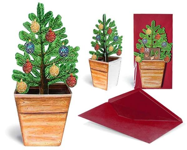Weihnachtskarte 3D Christbaum im Topf geschmückt - Ansicht Komplett-Set mit Couvert