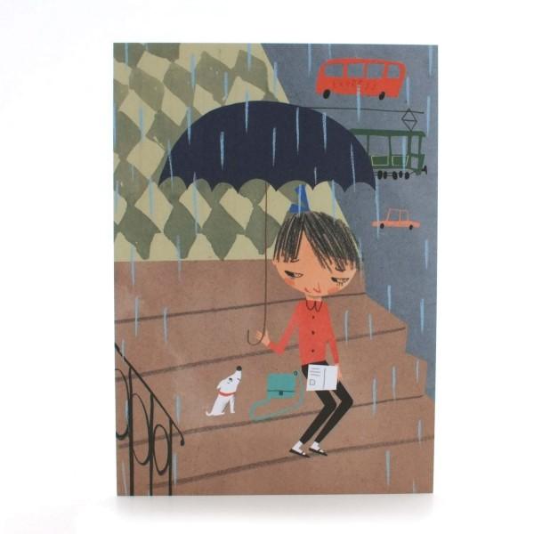 Postkarte Mädchen mit Schirm und Hund