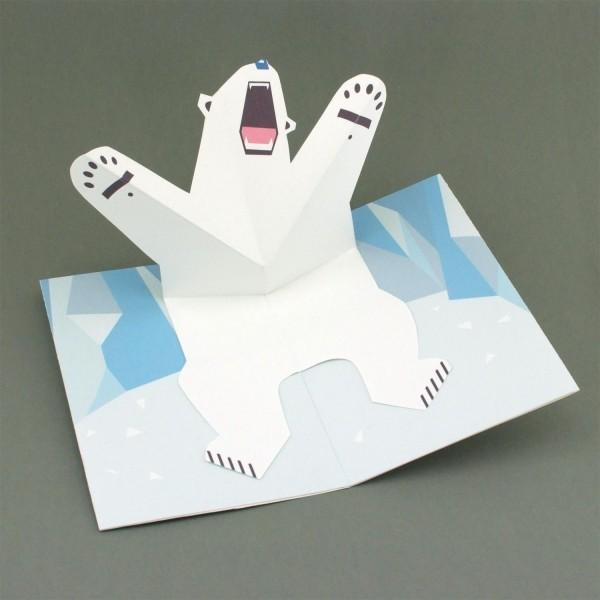"""Pop-up-Karte """"Brüllender Eisbär"""""""