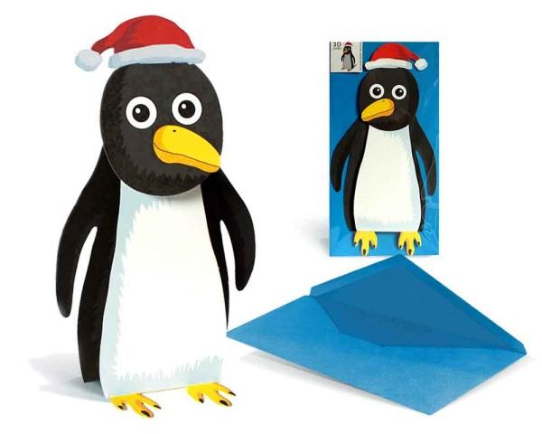 Weihnachtskarte dreidimensionaler Pinguin mit Nikolausmütze - Grußkarte Weihnachten Advent Nikolaus mit Couvert