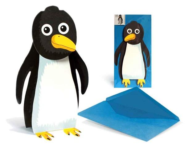 Grußkarte 3D Pinguin - Tierkarte zum Beispiel als Einladungskarte komplett Set mit Briefumschlag