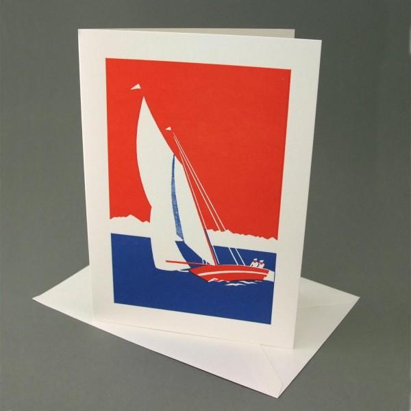 Klappkarte / Letterpress Segelboot
