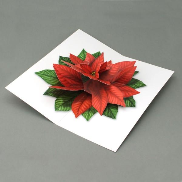 Pop Up Karte Weihnachtsstern, 3D-Weihnachtskarte