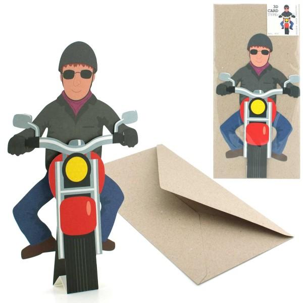 Grußkarte Motorradfahrer - 3D Figuren Faltkarte Biker Set mit Briefumschlag