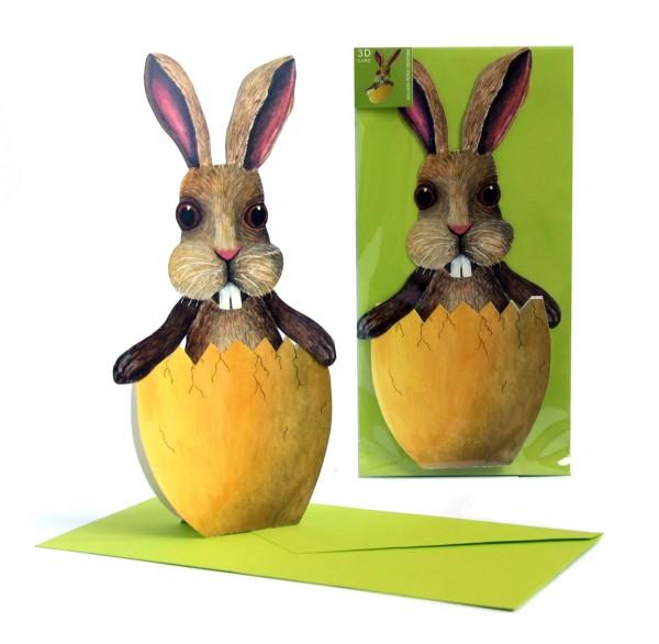 Osterkarte, 3D-Figur Hase im Ei