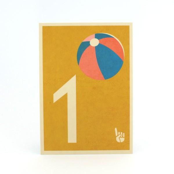 Zahlen-Postkarte 1