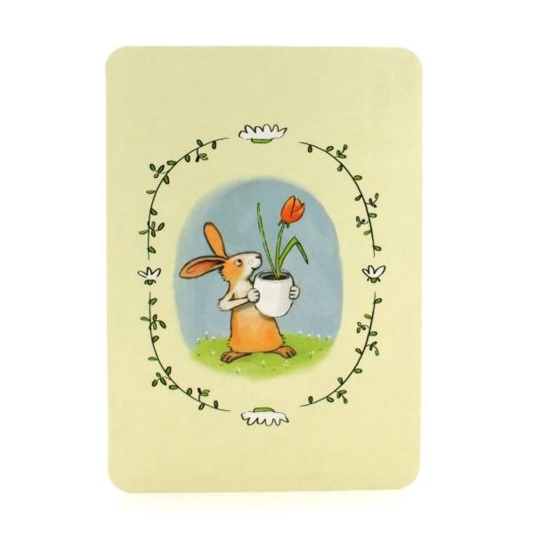 Postkarte Osterhase mit Tulpe