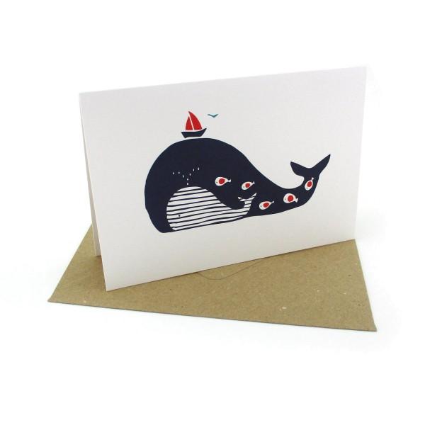 Klappkarte mit Wal und Segelboot