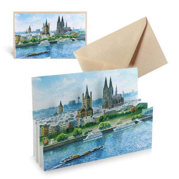 Ansichtskarte Köln - Pop-Up Städtekarte mit Briefumschlag