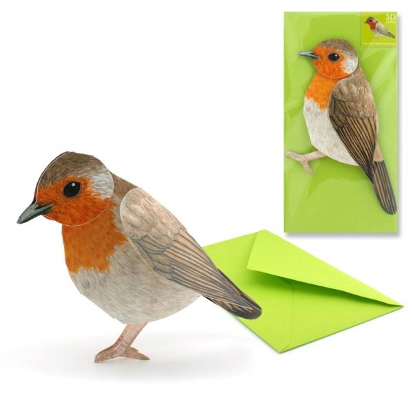 Grusskarte Vogel Rotkehlchen - 3D Tiermotiv Karte komplett Set mit Couvert