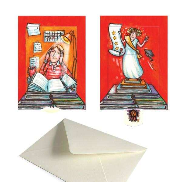 Glückwunschkarte Prüfung bestanden - Lebende Grußkarte Set mit Versandtasche