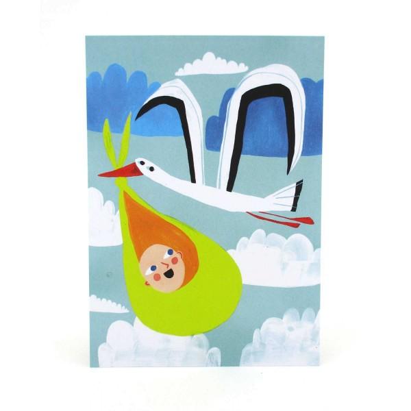 Postkarte Baby und Storch