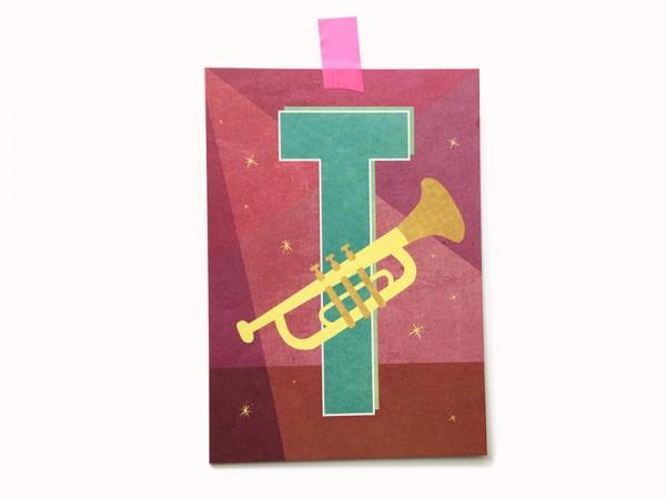 Buchstaben-Postkarte T