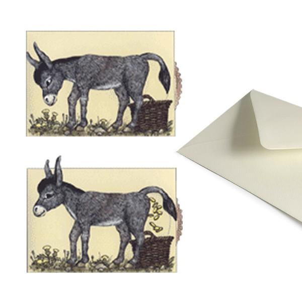 Grußkarte Goldesel - Lebende Karte Märchenmotiv Set inklusive Briefumschlag DIN C6