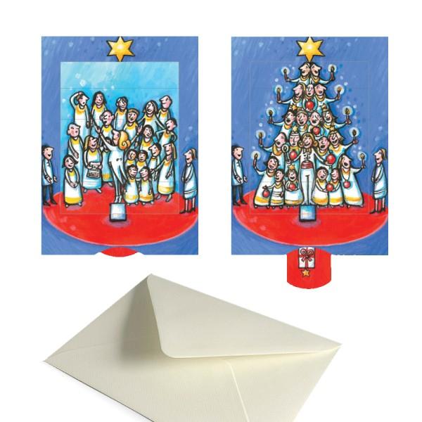 Weihnachtsgrußkarte Chor - Weihnachtsbaum - Lebende Karte komplett Set mit Briefumschlag