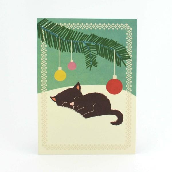 Weihnachtskarte kleine Katze
