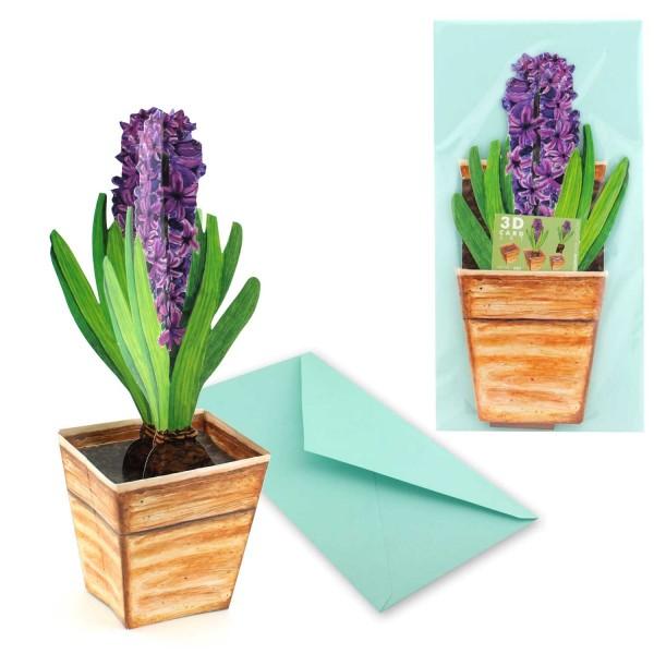 Grußkarte Hyazinthe im Topf - Karte Blumenmotiv Set mit Versandtasche