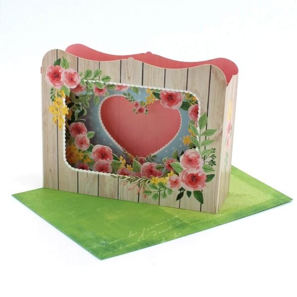 Valentinskarte Diorama Herz